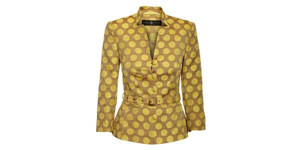 Dámsky žlto-hnedý kabátik Pietro Filipi s velkými bodkami