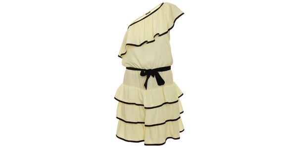 Dámske krémové šaty s čierno lemovanými volánmi Pietro Filipi
