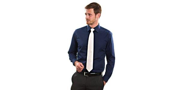 Pánska tmavo modrá košeľa s dlhým rukávom Vincenzo Boretti