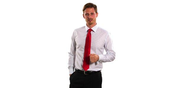 Pánska modro-biela kostičkovaná košeľa Vincenzo Boretti s dvojitou manžetou