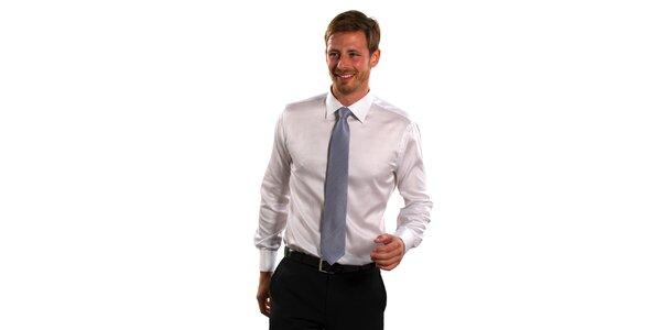 Pánska modro-biela prúžkovaná košeľa Vincenzo Boretti s dvojitou manžetou