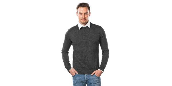 Pánsky antracitový sveter s okrúhlym výstrihom Vincenzo Boretti