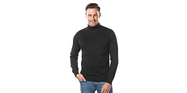 Pánsky čierny sveter s rolákom Vincenzo Boretti