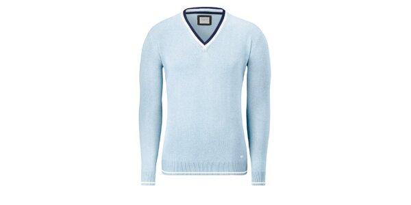 Pánsky bledo modrý sveter Vincenzo Boretti s bielym prúžkom
