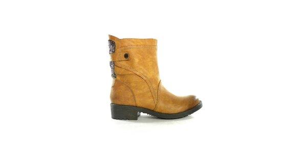 Dámske hnedé nízke čižmy s flitrami Shoes in the City