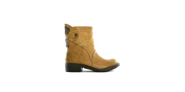 Dámske nízke khaki čižmy s flitrami Shoes in the City