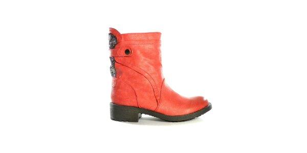 Dámske červené nízke čižmy s flitrami Shoes in the City