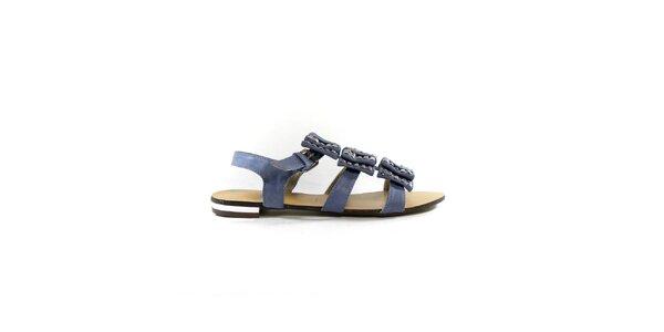 Dámske šedo-modré gladiátorky s cvočkami Shoes in the City