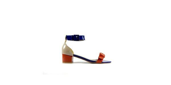 Dámske červeno-modré lakované sandálky Shoes in the City