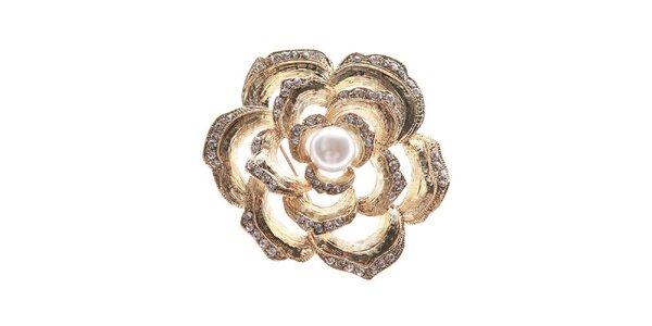 Dámska zlatavá brošňa v tvare kvetiny Brillant'in