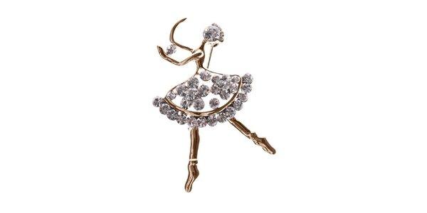 Dámska zlatá brošňa v tvare tanečnice Brillant'in