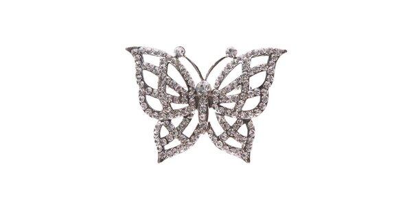 Dámska strieborná brošňa v tvare motýla Brillant'in