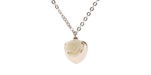 Dámska retiazka Brillant'in so srdiečkom a ružičkou vo farbe ružového zlata