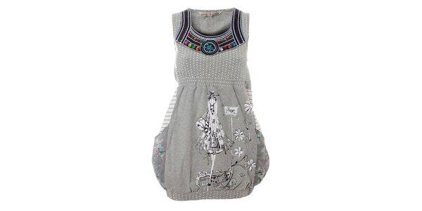 Dámske šedivé šaty Savage Culture s potlačou a farebnými kamienkami