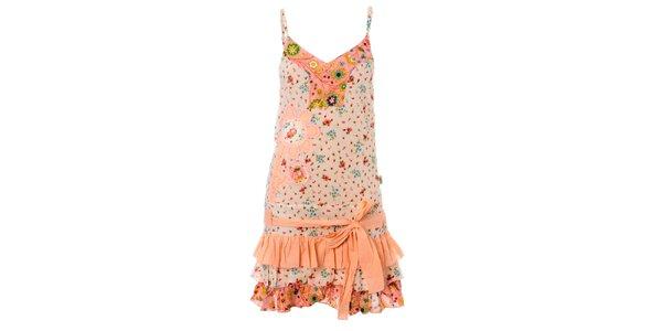 Dámske ružovo-krémové volánové šaty Savage Culture
