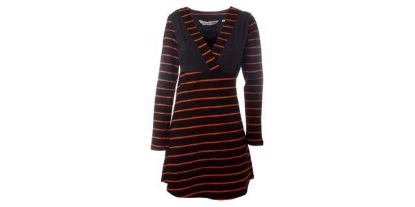 Dámske hnedo-oranžové prúžkované šaty Savage Culture