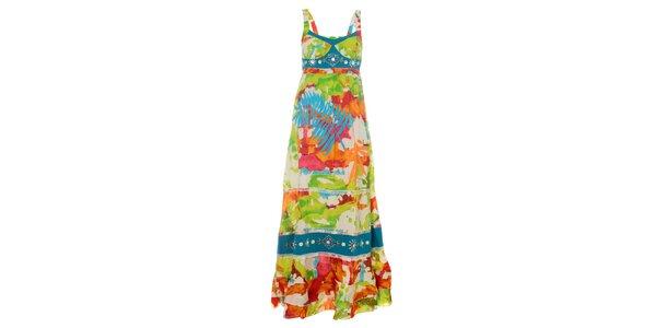 Dámske dlhé pestrofarebné šaty Savage Culture s volánmi