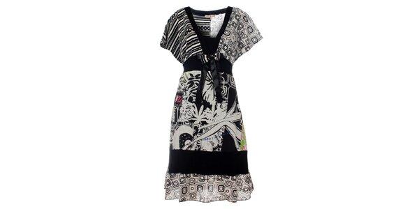 Dámske čierno-biele šaty Savage Culture s potlačou
