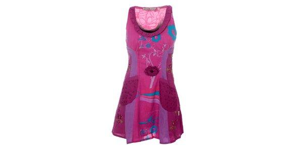 Dámske fialové šaty s volánkovým výstrihom Savage Culture
