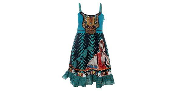 Dámske tyrkysové šaty s indiánskou potlačou Savage Culture