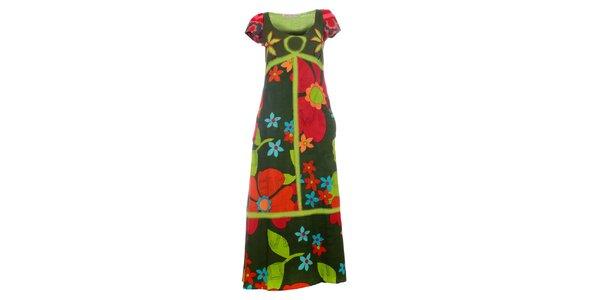 Dámske červeno-zelené kvetované maxi šaty Savage Culture