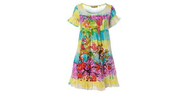 Dámske krátké pestrofarebné šaty Savage Culture s volánikmi