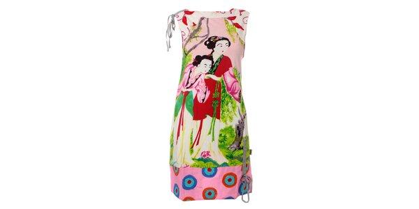 Dámske biele šaty Savage Culture s gejšami
