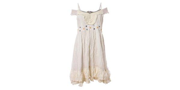 Dámske biele volánové šaty Savage Culture s čipkou a kamienkami
