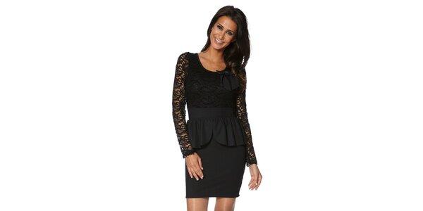 Dámske čierne šaty s čipkovými rukávmi S...with Swarovski