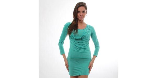 Dámske zelené šaty s vodovým predným dielom S...with Swarovski