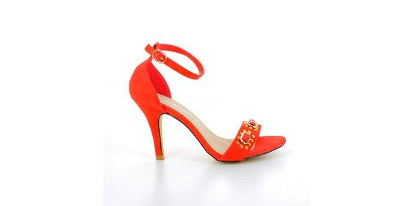 Dámske červené sandálky s kovovými kamienkami GirlHood