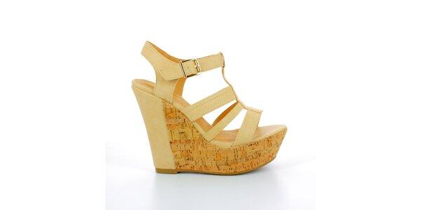 Dámske béžové sandále na korkovej platforme GirlHood