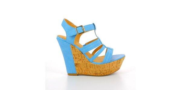 Dámske modré sandále na korkovej platforme GirlHood