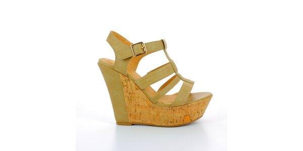 Dámske khaki sandále na korkovej platforme GirlHood