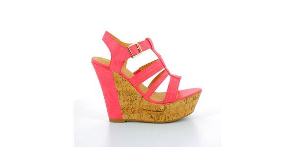 Dámske červené sandále na korkovej platforme GirlHood