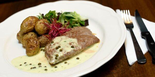Flank steak s pečenými baby zemiakmi