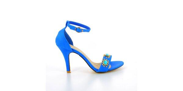 Dámske modré sandálky s kovovými kamienkami GirlHood