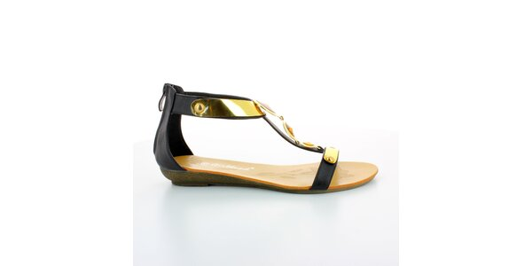 Dámske čierno-zlaté gladiátorky s kameňmi GirlHood