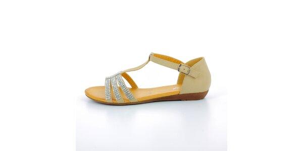 Dámske béžové sandále so štrasovými kamienkami GirlHood