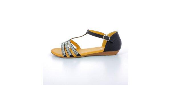 Dámske čierne sandále so štrasovými kamienkami GirlHood