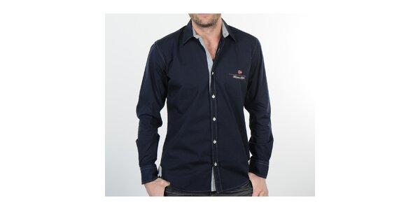 Pánska tmavo modrá košeľa s šedými detailami Napapijri