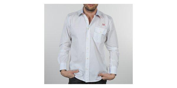Pánska biela košeľa s modrými a červenými detailami Napapijri