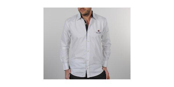 Pánska biela košeľa s čiernymi detailami Napapijri