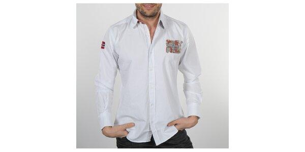 Pánska biela košeľa s korálovými detailami Napapijri