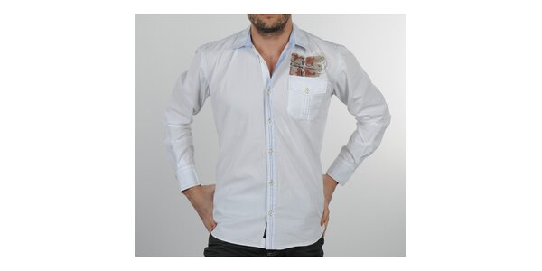 Pánska biela košeľa s modrými detailami Napapijri
