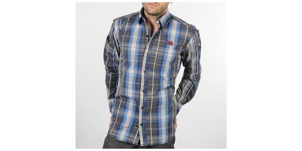 Pánska šedo-modrá kockovaná košeľa Napapijri