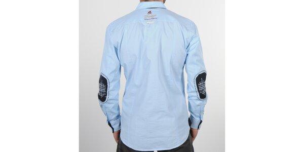 Pánska svetlo modrá košeľa s čiernymi detailami Napapijri