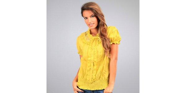 Dámska žltá blúzka Des Si Belles s volánikmi