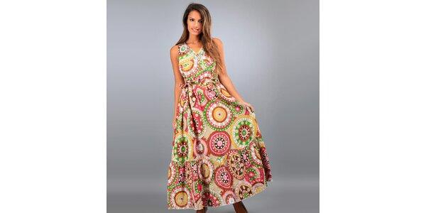 Dámske dlhé béžové šaty Des Si Belles s farebnými ornamentmi