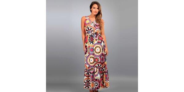 Dámske dlhé šaty Des Si Belles s farebnými ornamentmi